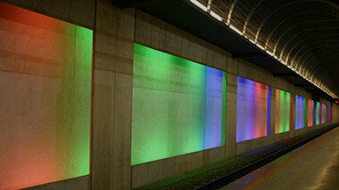 Billboard banner light box template located in subway station