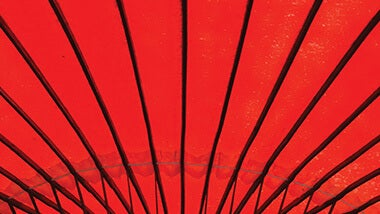 Abstract structure of red ceiling with steel pattern, view from below