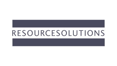 Resource Solutions logo with light blue background
